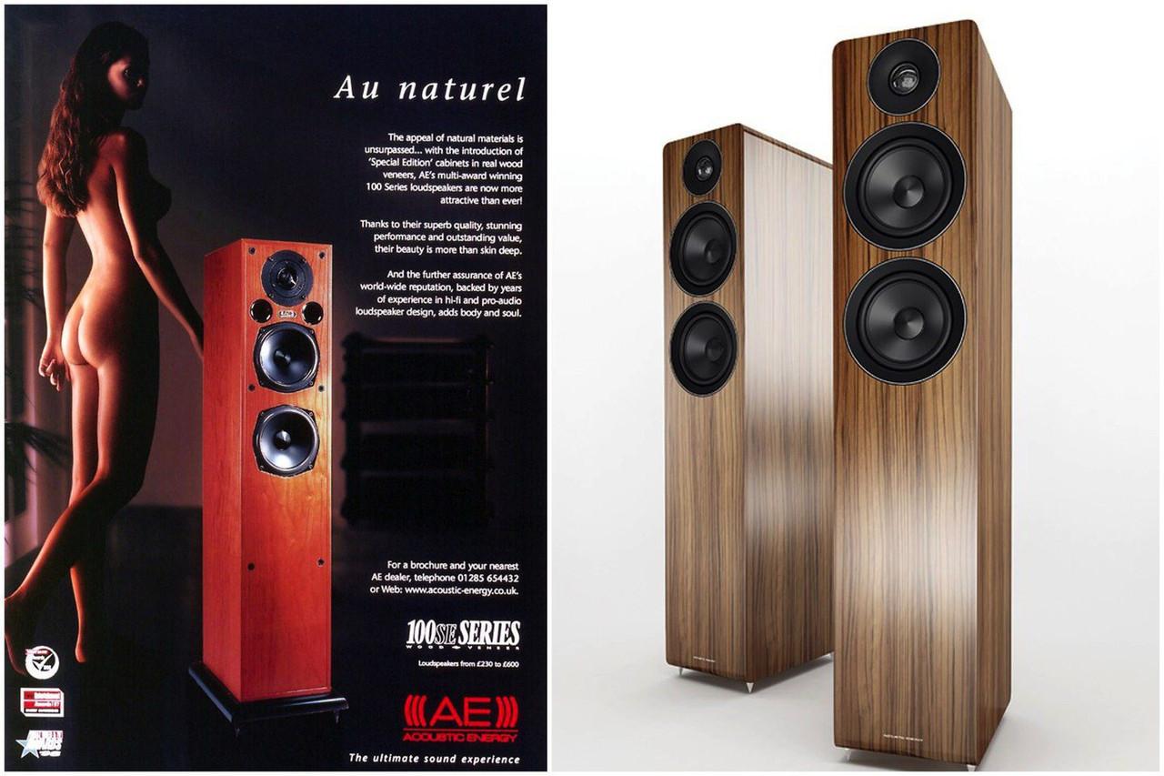 Слева — рекламный журнальный модуль конца 90-х колонок Acoustic Energy 109. Справа — новая версия 109-й модели, которая выйдет в этом году. Как она будет рекламироваться — мы пока не знаем
